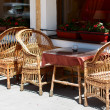 Stock Photo: Wicker furniture in cafe outdoors.