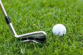 Illustration av en golfboll på en grön äng — Stockfoto