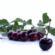 Stock Photo: Ripe red cherry berries with leaves. Vector.