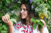 Series of closeup portrait of a beautiful girl in a field with a wreath — Stock Photo