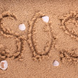 "Drawing of ""SOS"" on the beach sand at the sea. — Stock Photo"