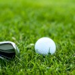 Illustration of a golf ball on a green meadow — Foto de Stock
