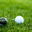 Illustration of a golf ball on a green meadow — ストック写真