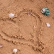 Stock Photo: Heart drawing in the sand