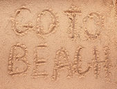 Slogan on a sand. go to beach. — Foto Stock