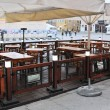 Stock Photo: Street view of empty coffee terrace with tables and chairs in old town of Antalya, Turkey