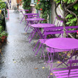 Outdoor street cafe tables ready for service — Stock Photo