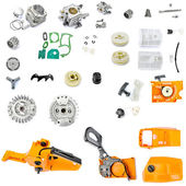Collection of components chainsaw  on a white background — Stock Photo