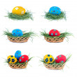Three Easter eggs in a basket on a white background, collection — Stock Photo