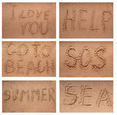 Inscription on the sand,collection — Stock Photo