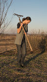 Female farmer  with spade — Stock Photo
