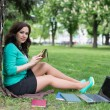 Mixed race college student lying down on the grass working — Stock Photo #46356419