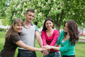 Multiracial Students with Hands — Stock Photo