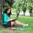 The beautiful young woman sits on a grass — Stockfoto #47733477