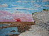 Sunset seashore drawing nature — Stock fotografie