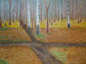 Autumn painting nature trees and crossroad — Stock Photo