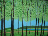 Painting nature trees landscape summer — Stock Photo