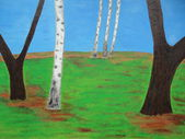 Nature trees painting blue and green background — Stock Photo