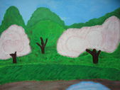Painting nature spring — Stock Photo