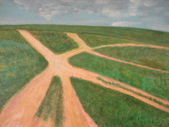 Steppe roads painting nature — Stock Photo