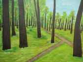Trees painting green background — Stock Photo
