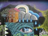 Graffiti house abstract background — Stock Photo