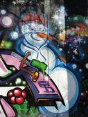 Snowman graffiti background — Stock Photo