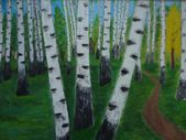 Painting nature trees birchwood abstract — Stock Photo