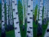 Painting nature trees birchwood abstract background — Stock Photo