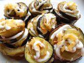 Dish of fried eggplant — Stock Photo