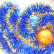 Christmas and New Year balls blue and gold tinsel abstract background — Stock Photo