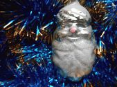Christmas and New Year decorations on a background of blue tinsel — Photo