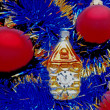 Stock Photo: New Year decorations red balls on blue background
