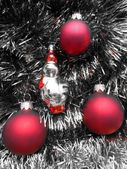 Christmas and New Year red balls on a gray background — Stock Photo
