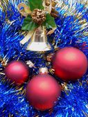 Christmas and New Year red balls on a blue background — Stock Photo