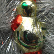 Christmas and New Year decoration on a background of silver tinsel — Stock Photo #35307547