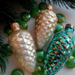 Christmas decoration pine cones — Stock Photo