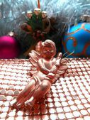 Christmas decoration angel and balls abstract background — Stock Photo