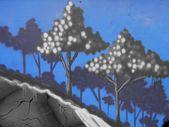 Graffiti bomen op een blauwe achtergrond — Stockfoto