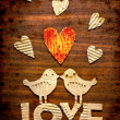 Vintage holidays card with a two birds and heart as a symbol of love — Stock Photo