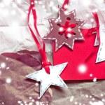 Christmas decoration over grunge background — Stock Photo