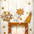 Christmas decoration over white,winter background with the star - Stock Photo