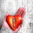 Heart with the key in women hand as a symbol of love - 图库照片