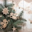 Christm as angels with the stars and christmas tree — Stock Photo
