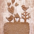Vintage decorativ composition with two birds in love — Stok fotoğraf