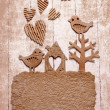 Vintage decorativ composition with two birds in love - Stok fotoğraf