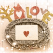 Vintage holidays card with a house and heart as a symbol of love - Foto Stock