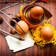 Vintage easter still-life with group of eggs and paper for the sign - 图库照片