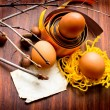 Vintage easter still-life with group of eggs and paper for the sign - Stockfoto