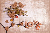 Vintage decorativ composition with two birds in love — Stock Photo